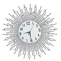 RANZHIX 3D Diamond Wall Clock Modern Classic Crystal Wall Clock Silent Non Ticking Metal Wall Clock for Living Room Office Bedroom Wall Art DIY Decor