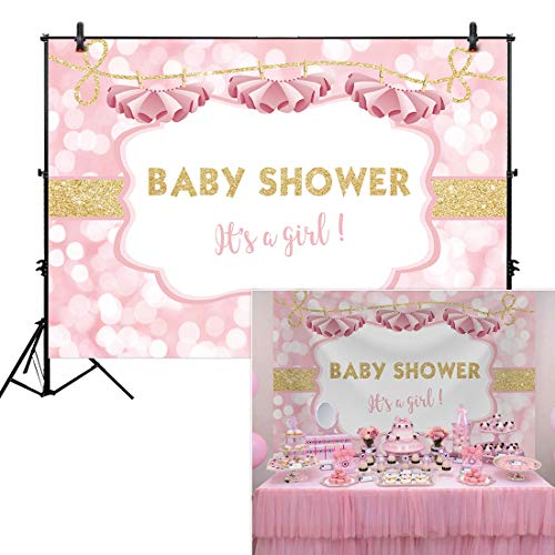 Allenjoy 7x5ft Ballerina Backdrop Tutu Glitter Gold Baby Shower It's a Girl Background Baby Shower Happy Birthday Party Cake Dessert Table Decor Decoation Banner Photo Booth]()