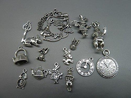40pcs Antique Silver Alice in Wonderland Fairy Tales Tea Party Steampunk Victorian Necklace Bracelet Charms (antique silver)