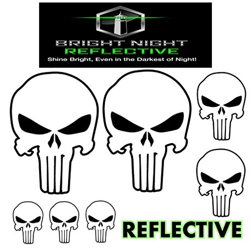 Punisher skull decal set, white reflective (Two 2.25 x 3.25 plus 5 more!) for helmets motorcycles cars guns iphone ipad tumbler phone tablet jeep truck car window (Skull Right Decal)