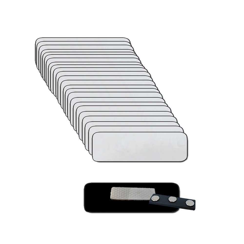 Name Badges with Super Strong Magnetic Fastener - 25 Pack Bulk Silver / Blk Blank Plastic Name Tags with 1/4th Rounded / Finished Corners 1'' X 3''