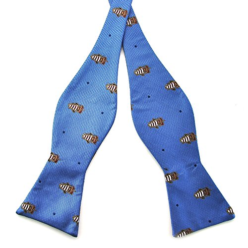 UPC 638170326769, Pensee Mens Self Bow Tie Medium Blue & Navy Dot & Cute Pattern Jacquard Woven Silk Bow Ties (Medium Blue & Navy Dot)