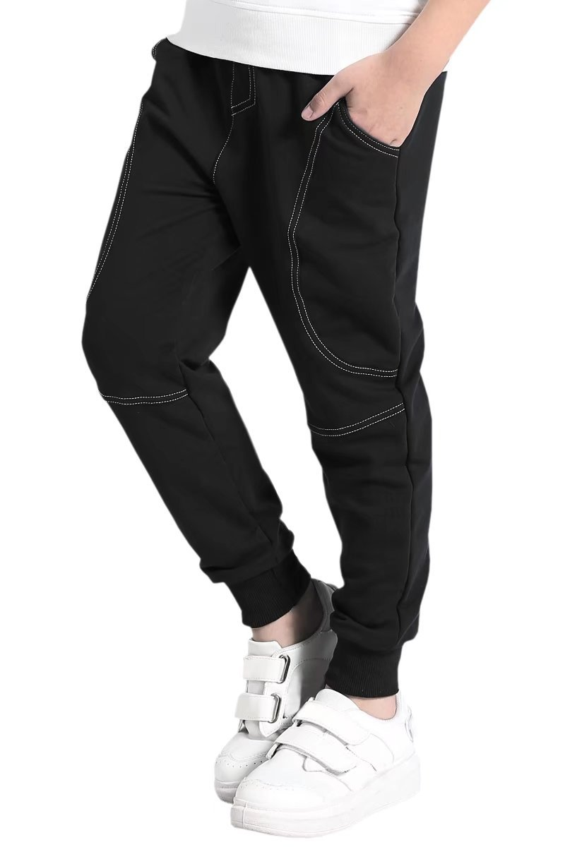 AOWKULAE Boys Cotton Fleece Active Pull On Joggers Pants Sweatpants Black, Age 5T-6T (5-6 Years) = Tag 130 by AOWKULAE (Image #1)