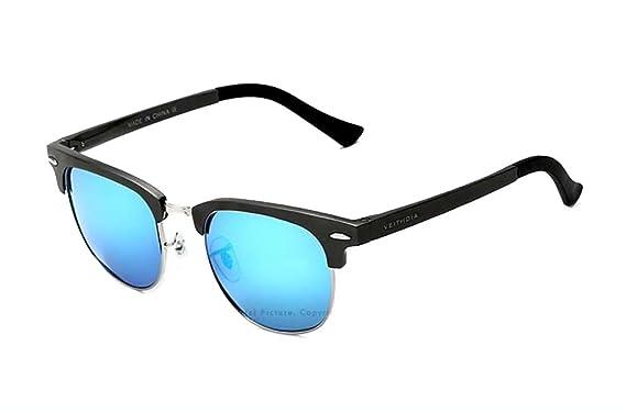 VEITHDIA Sonnenbrille Herren Retro Polarisierte Sonnenbrille Metallrahmen Brille Al-Mg Metallrahme Ultra leicht 6690 (Schwarz) ANc0oH