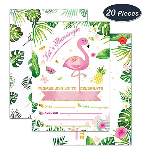 WERNNSAI Glitter Flamingo Party Invitations with Envelopes - 20 Set Luau Birthday Baby Shower Wedding Pool Party Supplies Invitation Cards
