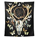 Animal Deer Skull Dreamcather Feathers and Butterfly Polyester Family Decor Tapestry Vertical Wall Blanket 80x60 Inch Room Ornaments