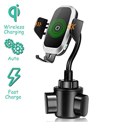 Qi Wireless Car Charger Cup Holder, Flexible Gooseneck Cup Holder Phone Mount Cupholder Compatible with iPhone 11 Pro XS Max XR X 8, Samsung Galaxy S10 S9 Note S8 S7 S6