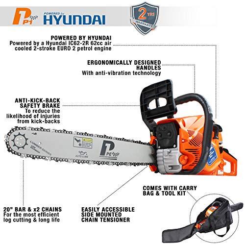 P1PE 2-Stroke Petrol Chainsaw Easy Start 20-inch Hyundai Powered 62cc...
