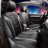 FH Group PU208GRAYBLACK102 Gray/Black Leatherette Car Seat Cushions Airbag Compatible