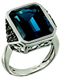 Sterling Silver 925 STATEMENT Ring GENUINE LONDON BLUE TOPAZ and BLACK SPINEL 19.97 Cts with RHODIUM-PLATED Finish (8)