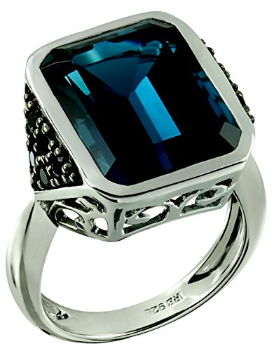 Sterling Silver 925 STATEMENT Ring GENUINE LONDON BLUE TOPAZ and BLACK SPINEL 19.97 Cts with RHODIUM-PLATED Finish (8) by RB Gems