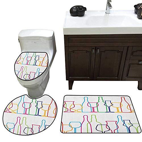 et Colorful Outline Bottles and Glasses Bar Party Drink Cocktails Modern Fun Collection Toilet Floor mat Set Multicolor ()