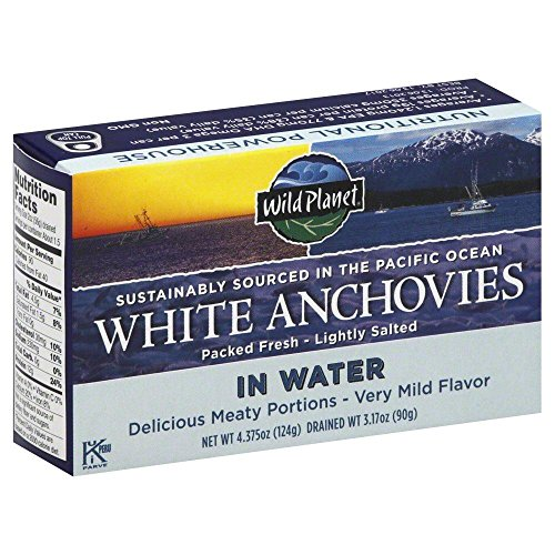 Wild Planet White Anchovies Packed Fresh Lightly Salted In Water, 4.37 oz (Salted Water)
