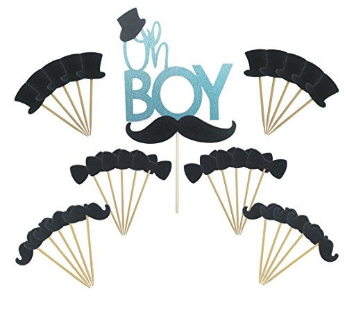 Maydolbone 31pcs Oh Boy Cake Topper Hat Mustache Bowtie Cupcake Toppers- birthday or baby shower Food Picks Decor And Cupcake Party (Bow Tie Cake)