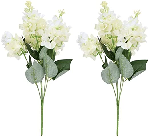 Duokon 2 Piezas Flor Artificial Jacinto Falso 5 Cabezas Decorativo plástico Hortensia Ramo jardín Boda decoración: Amazon.es: Hogar