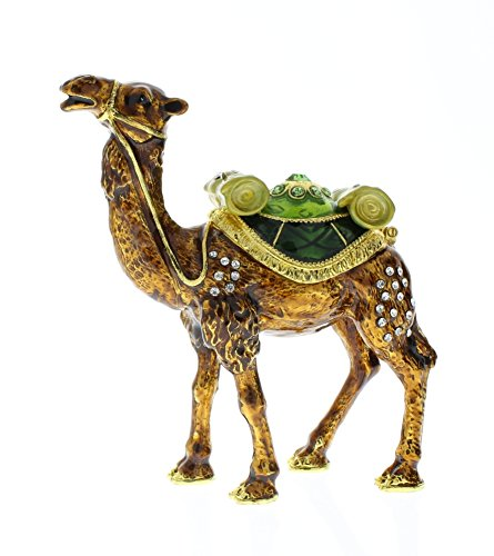 Jeweled Camel - Camel Standing Trinket Box, Swarovski Crystal, Hand Painted Brown & Green Enamel Over Pewter, Inside of Box with Lovely Enamel, L 3.25 X H 3.75 X W 1.25