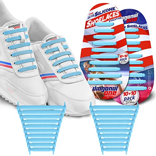 DIAGONAL ONE Diagonal One No Tie Shoelaces for Kids & Adults.The Elastic Silicone Shoe Laces to Replace Your Shoe Strings. 20 Slip On Tieless Flat Silicon Sneakers Laces (Blue) price tips cheap