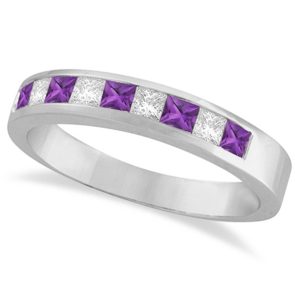 Princess Channel-Set Diamond and Amethyst Ring Band 14K White Gold