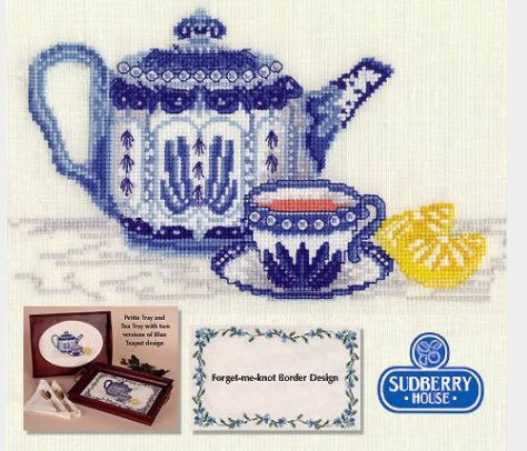 Blue Teapot with For-get-me-not Border Counted Cross Stitch Kit -