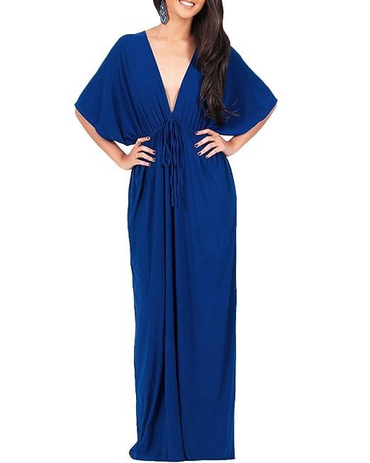 Mujer Vestido Maxi Con Cuello En V Manga Corta Vestido Largo Cóctel Fiesta Azul M