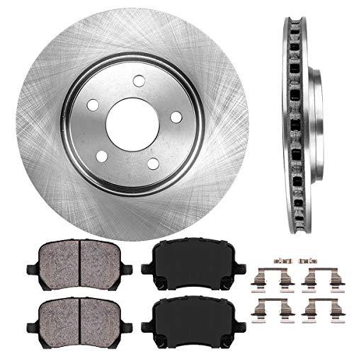 FRONT 295.8 mm Premium OE 5 Lug [2] Brake Disc Rotors + [4] Ceramic Brake Pads + Clips