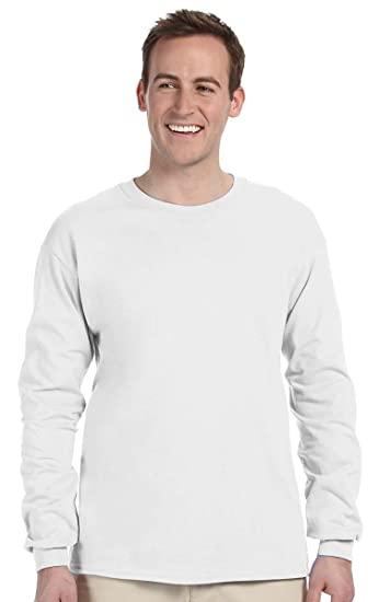415acf964 Jerzees Mens 5 Oz. HiDENSI-T Long-Sleeve T-Shirt(363L)-White-S | Amazon.com