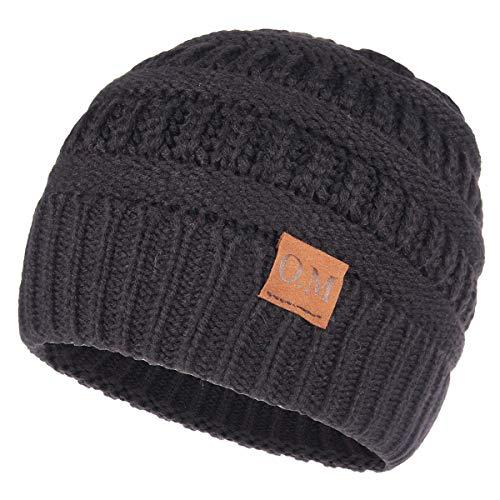 OMECHY Womens Winter Beanie Hat Knitted Slouchy Cap Messy Bun Ponytail Beanie Wool Warm Daily Skull Cap