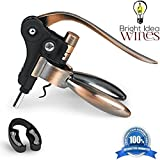 BRIGHT IDEA ORIGINAL WINES – Rabbit Lever Bottle Opener, Corkscrew Self Pulling Ergonomic Style, Effortlessly Opens Premium Fine Vino Cork - Professional Restaurant Quality Gift Set w/ Luxury Finish
