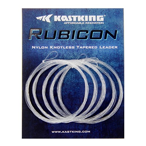(KastKing Rubicon Tapered Leaders Fly Fishing Line - Pre-tied Loop - Abrasion Resistent for Freshwater or Saltwater - Wide Assortment, 7.5' / 9', Size 0X to 6X Available - 5 Pack / 6 Pack)