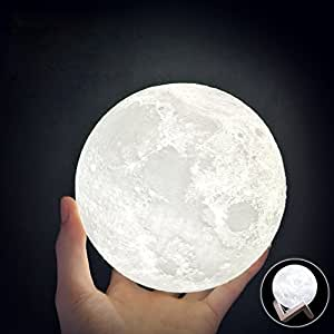 Huluwa WCH8141 Night Light 3D Printing Moon Lamp, Lunar USB Charging Night Light, Touch Control Brightness Two Tone