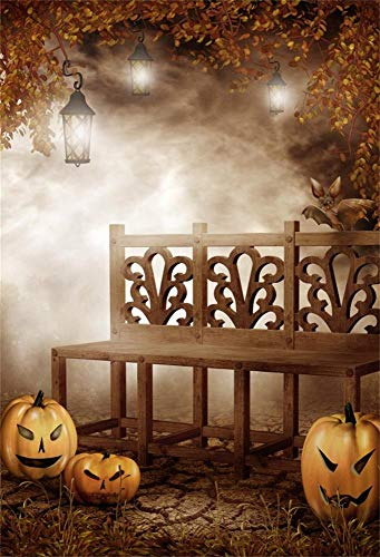 OFILA Halloween Party Backdrop 6.5x10ft Kids Halloween Party Photography Background Pumpkin Lights Gloomy Forests Halloween Eve Party Decoration Bats Magic Halloween Photos Shoot Props]()