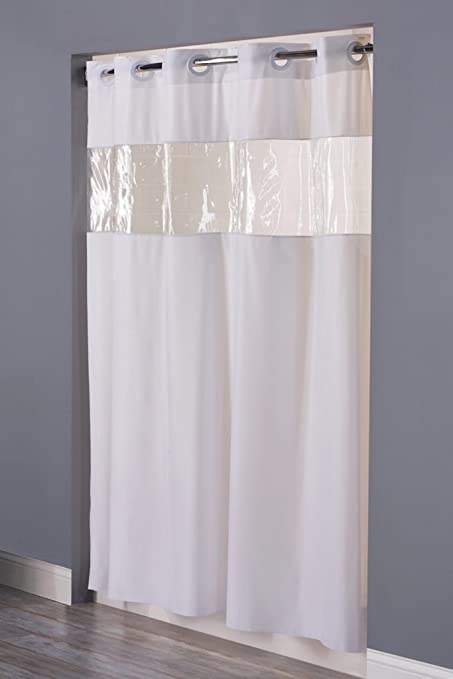 Superbe Vision VINYL Shower Curtain HOOKLESS   WHITE With Clear Top