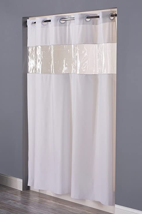 Hookless Clear Shower Curtain.Arcs Angles Hbh08vis01 Hookless Shower Curtain With Clear Window White