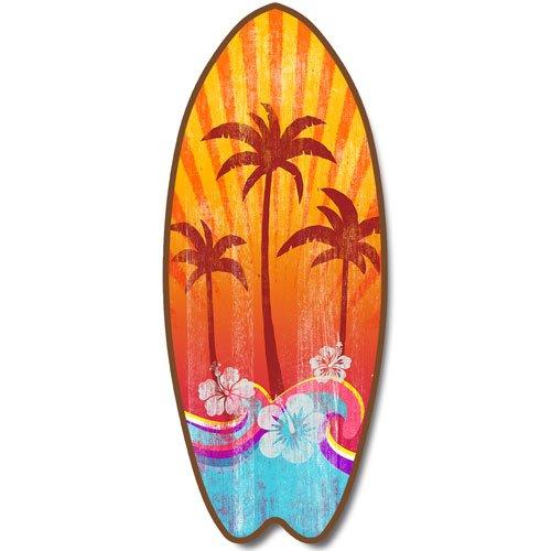 Palm Trees Coastal Decor - New Surfboard Plaque Palm Trees Beach Sign Coastal Decor Wall Art