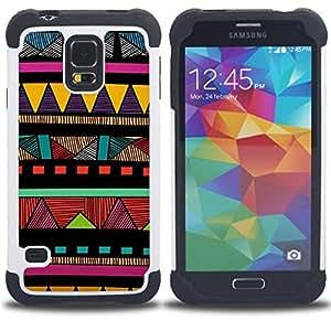 - Indian native American colorful pattern - - Doble capa caja de la armadura Defender FOR Samsung Galaxy S5 I9600 G9009 G9008V RetroCandy
