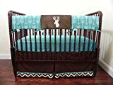 Woodland Nursery Bedding, Baby Boy Bumperless Crib Bedding Set, Crib Rail Cover, Deer Crib Bedding in Teal and Brown - Choose Your Pieces