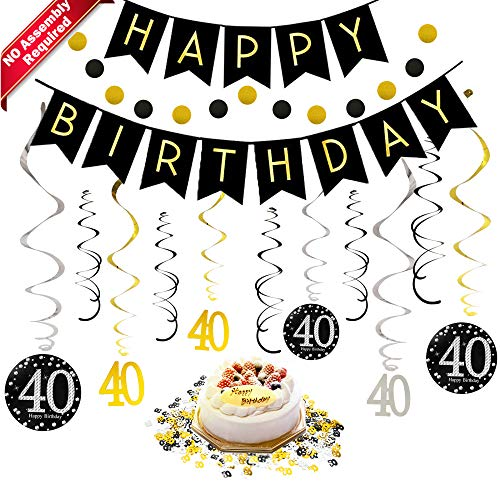 40th Birthday Decorations Kit for Men & Women 40 Years Old Party, NO Assembly Required - Black Gold Happy Birthday Banner, Hanging Swirls, Circle Dots Hanging Decoration, Number 40 Table -