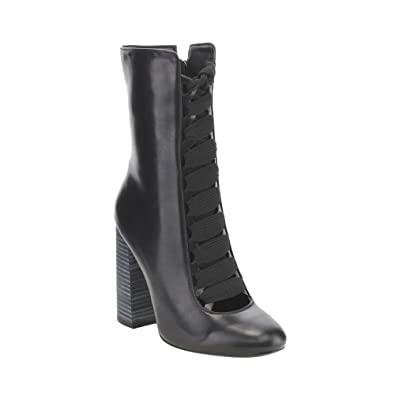 GE39 Women's Lace Up High Chunky Heel Zip Up Dress Mid-Calf Boots