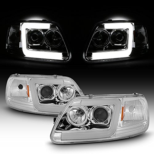(For 97-03 Ford F150 / F250 97-02 Expedition Pickup Truck Red Tube Bar Projector Headlights Pair)