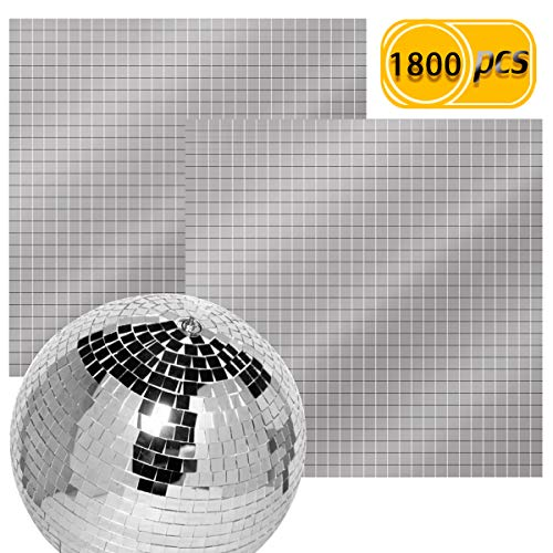 BcPowr 1800PCS Self-Adhesive Mini Square Glass Mirrors Mosaic Tiles, Real Glass Craft Mini Square & Round Mirrors Mosaic Tiles for Disco Ball and DIY Craft Decoration, 1 x 1 -