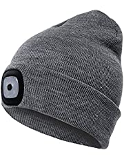 Ohderii Unisex USB Rechargeable LED Beanie Cap Quick Release Headlamp Winter Warmer Knit Cap Hat - Black/Grey