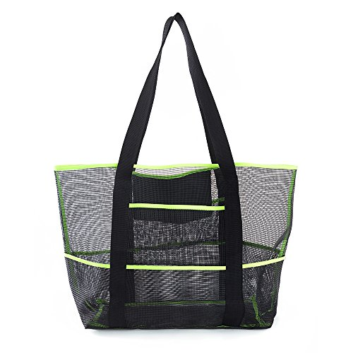 okroo Mesh Beach Bag, Beach Tote-Good for The Beach,Pool,Water Park,Lots of Pockets for Swim Gear,Towels,Toys,Snacks