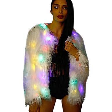 99bc19bc0ad7 M Mayever MAYEVER® Light Up Flashing LED Faux Fur Coat Warm Costume W/Shiny