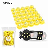 FIVE BEE Anti Slip Snow Ice Crampon Spikes- Durable Grips Grippers Crampon Cleats Shoes for Winter Outdoor Hiking Climbing (100Pcs/Pack)