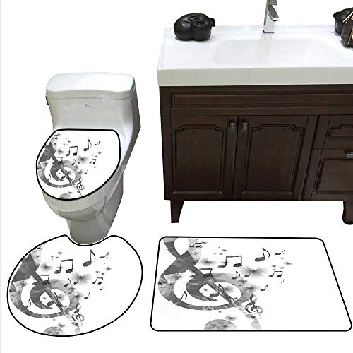 Music Decor Bath mat and Toilet mat Set Music with G-Clef Key Instrument Monochrome Creative Rhythmic Ornate Bathroom Toilet mat Set ()