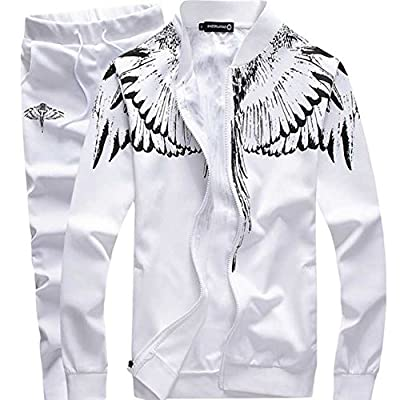 Manluodanni Men's Tracksuit Feather Wings Sports Sets Zip Up Jacket & Pants