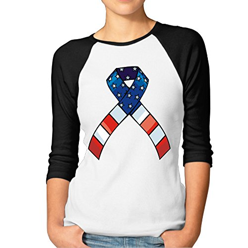 Memorial Day Bulletin Boards (Ribbon With USA Flag For Memorial Day Woman 3/4 Sleeve Baseball Tee)