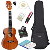Image of Acoustic Electric tenor Ukulele with Bag, Tuner, Strap, Extra Aquila Strings, Polishing Cloth, 2 Pins Installed, Instructional Book, By HANKEY KUT-70EQ