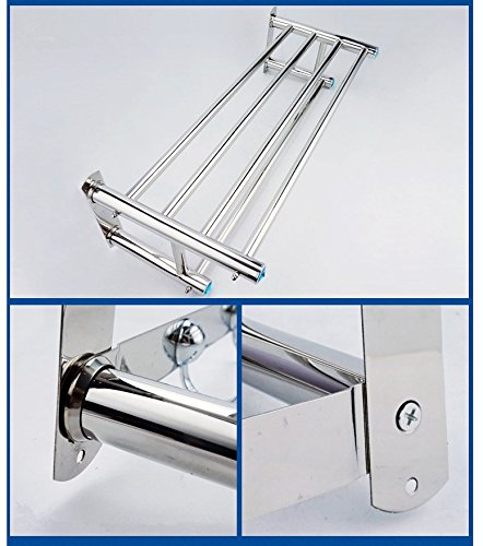 (23-Inch) FUNJIA Stainless Steel Bath Towel Rack/holder, Bathroom Shower Towel Bar, Shelves Space Saving Organizer, Modern Style and Special Blue Decoration, Polished Finish by FUNJIA (Image #3)