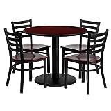 Dyersburg 5pcs Table Set Round 36'' Mahogany Laminate, Mahogany Wood Chair